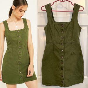 Urban Outfitters Green Button Denim Mini Dress